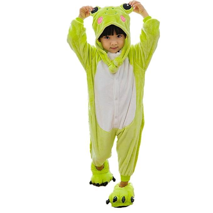 LifenewBaby - Pijama de una Pieza - Manga Larga - para niño Verde Rana XXS
