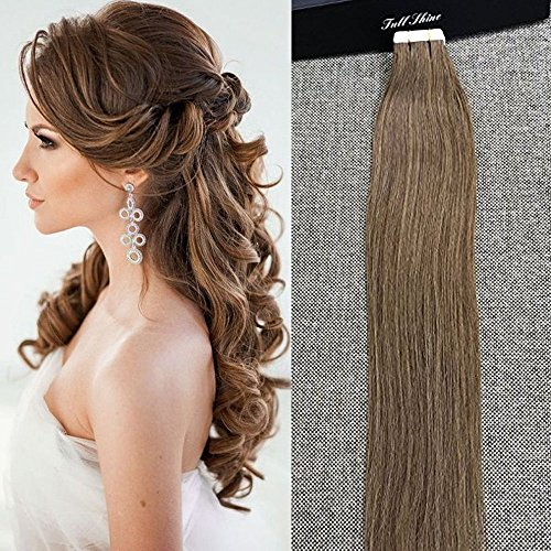 """Price comparison product image Full Shine 24"""" 50g 20 Pieces Per Package Tape Extensions Real Human Hair Skin Weft Invisible Tape Extensions Thick End PU Tape Hair"""