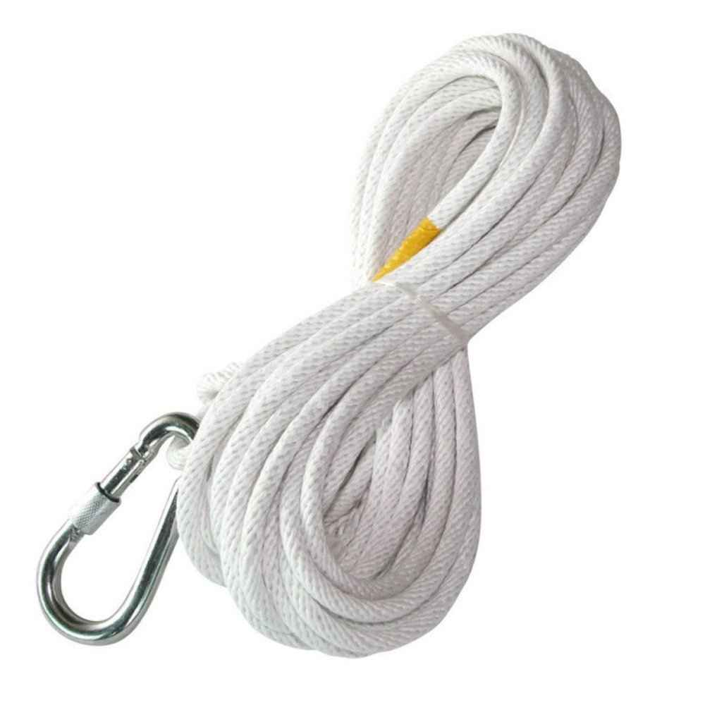 LDFN Rock Climbing Rope Lifesaving Escape Rope Safety Rope For High Altitude Work Wire Rope Core Fire Rope,White-60m8mm