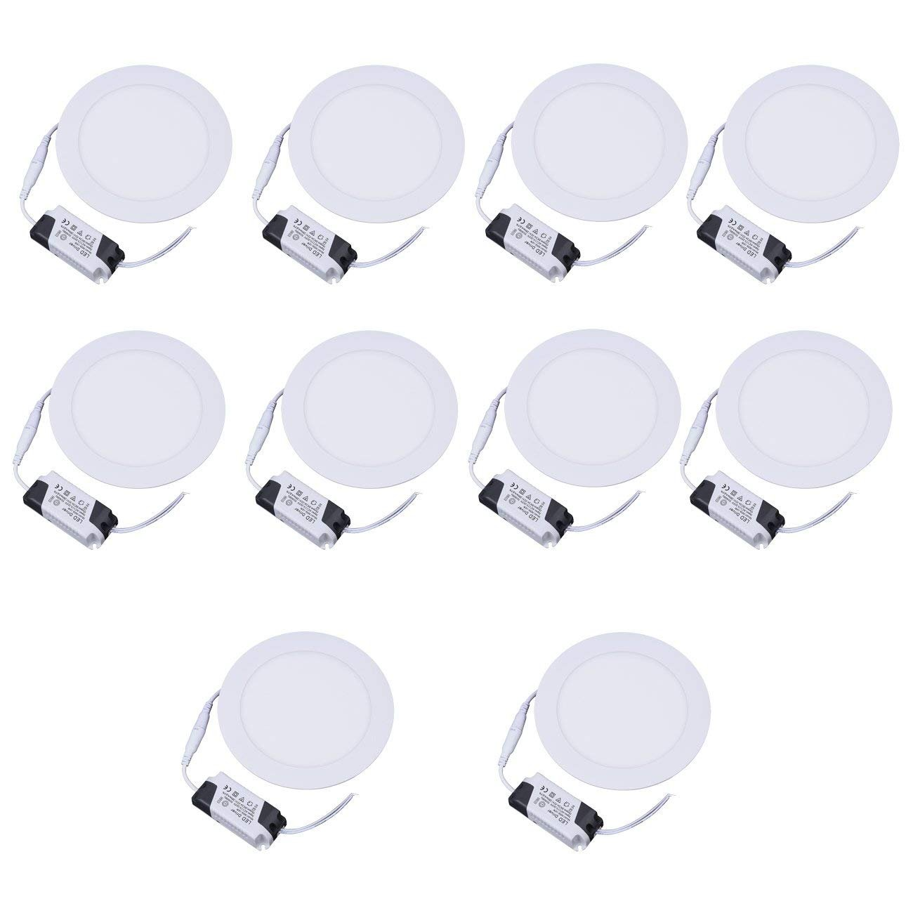 Ridgeyard 10x 12W Ultra-Thin Round LED Panel Light 6000-6500K, 880 Lumens LED Recessed Flat Panel Downlight Ceiling Lights, 10 Pack