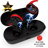 Upgraded 2019 True Wireless Bluetooth Earbuds - 24 Hours Playtime Quality Stereo Sound - Latest 5.0 Strong Connection, Memory-Foam Earmuffs Headphones - Truly in-Ear Earphones, Built-in Microphone