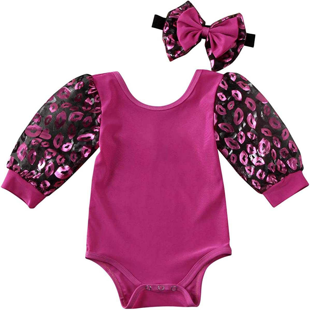 Newborn Toddler Baby Girl Puff Sleeve Mesh Solid Romper Bodysuit Outfits Clothes