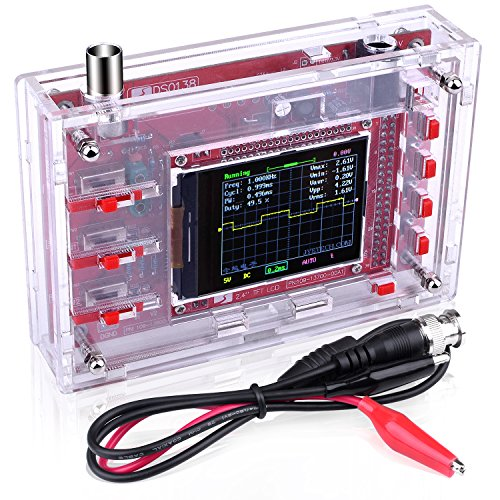 "Quimat DSO138 Pocket-size Digital Oscilloscope Kit Open Source 2.4"" TFT 1Msps with Probe and Protective Case, Welded Version (Case needs to be assembled)"