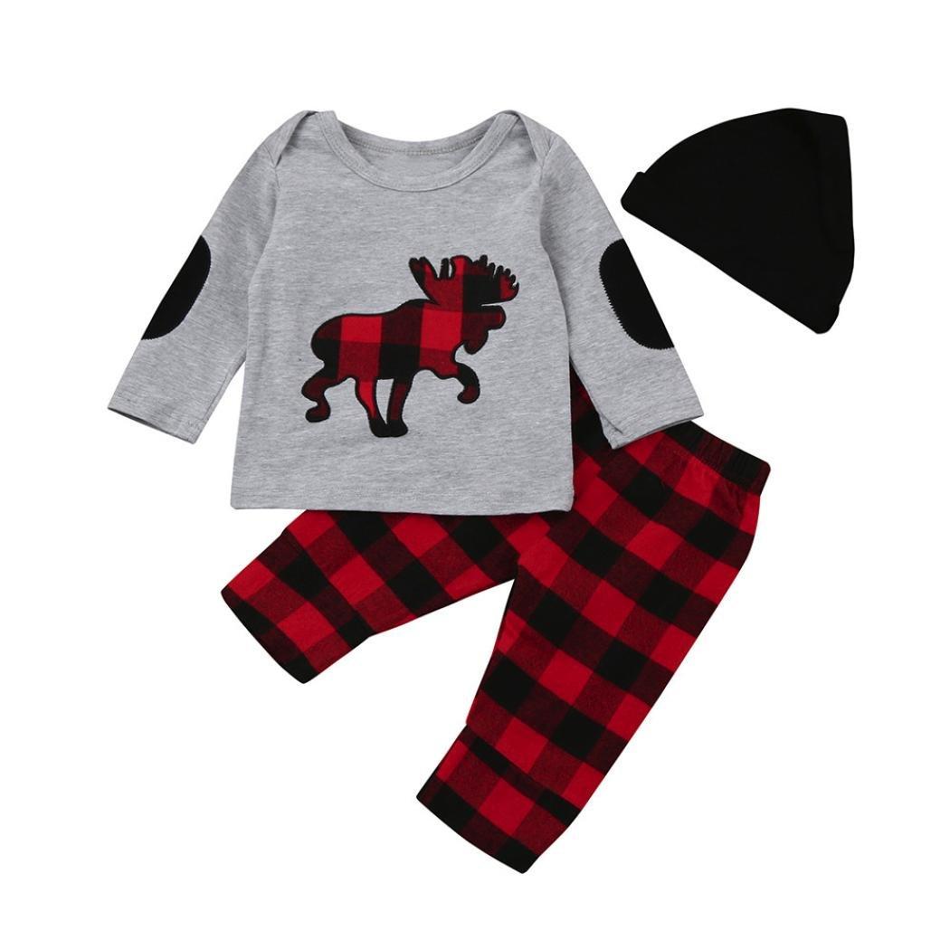 Perman 3PCS Newborn Baby Boys Girls Plaid Tops+Pants+Hat Outfits Set PM-1023