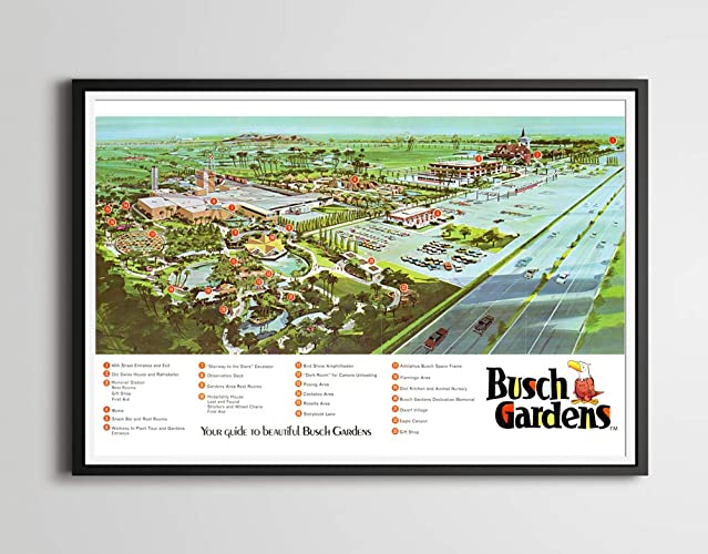 Amazon.com: Vintage 1970 Busch Gardens Park Map Poster! (24 ... on printable map of hollywood studios, printable map of downtown orlando, printable map of disney magic kingdom, printable map of six flags great adventure, printable map of epcot center, printable map of colonial williamsburg, printable map of colonial parkway,