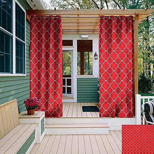 leinuoyi Quatrefoil, Outdoor Curtain Set, Arabesque Style Motifs Oriental Royal Floral Petal Pattern Moroccan Print, Balcony Curtains W108 x L108 Inch Vermilion White