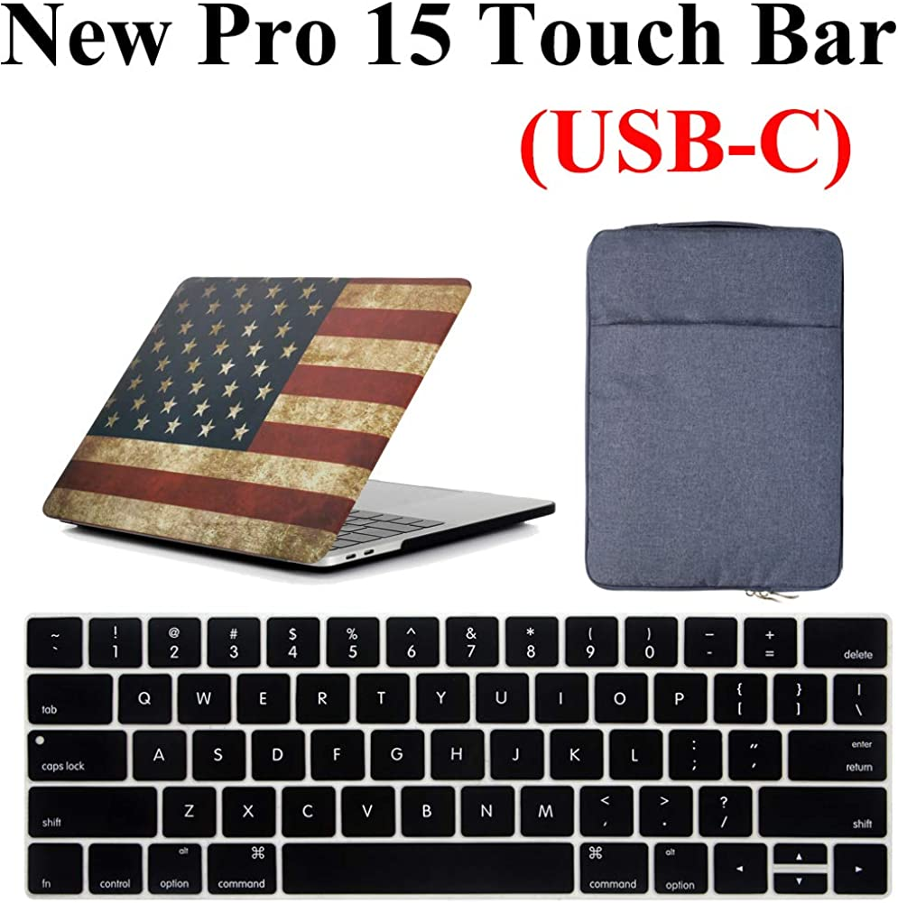 MacBook Pro 15 Inch A1990 / A1707 Case & Bag 3 in 1 Bundle, iZi Way Old Glory American Flag Case with Blue Denim Carrying Briefcase HandBag, Keyboard Cover for Mac Pro 15 with Touch Bar (2016-2019)