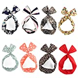 Yeshan Rabbit Ear Twist Bow Wired Headbands Scarf Headwrap Hairband Hair Accessory,Pack of 8