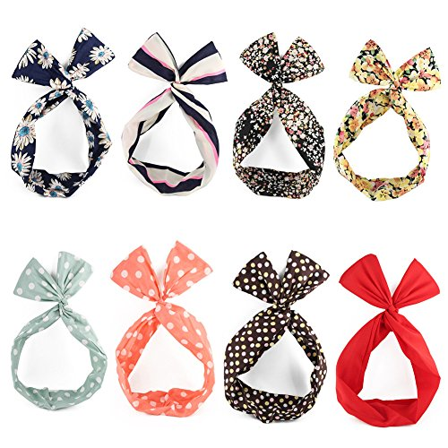 - Yeshan Rabbit Ear Twist Bow Wired Headbands Scarf Headwrap Hairband Hair Accessory,Pack of 8