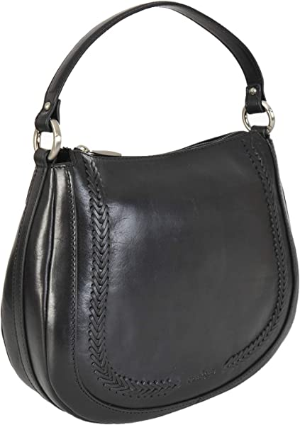 d2471606da2 Gianni Conti Italian Leather Medium Top Zip Saddle Shoulder Bag 9416132  (Black)