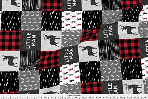 Decor Fabric Plaid Home (Patchwork Fabric Little Man (90) - Red And Black (Buck) Quilt Woodland by Littlearrowdesign Printed on Basic Cotton Ultra Fabric by the Yard by Spoonflower)