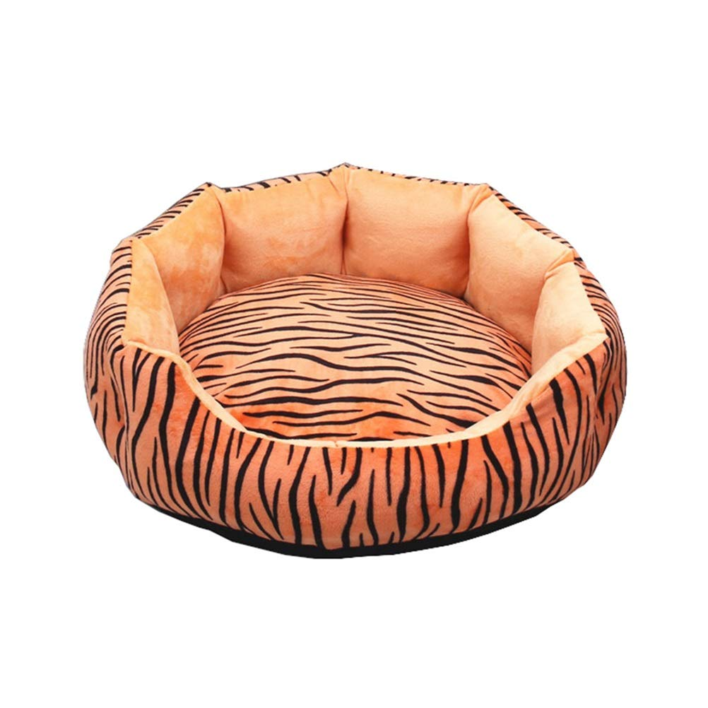 M Soft and Comfortable Removable and Washable Round pet Bed Dog Bed Short Plush Yellow Tiger Pattern Four Seasons Universal Pet cat Dog cave (Size   M)
