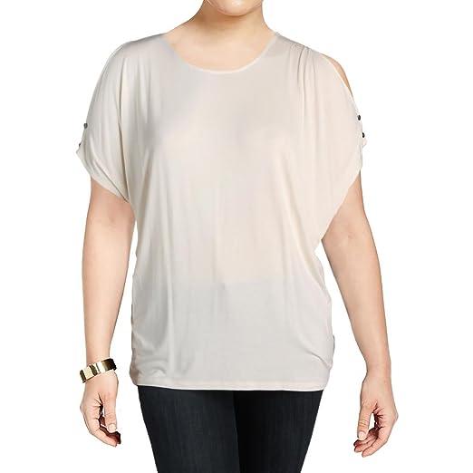53b3af19b13166 LAUREN RALPH LAUREN Womens Plus Lutreu Knit Cold Shoulder Casual Top Beige  3X
