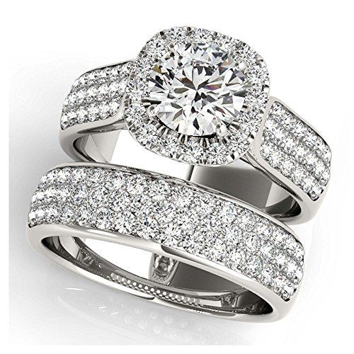 14K White Gold Unique Wedding Diamond Bridal Set Style MT50884