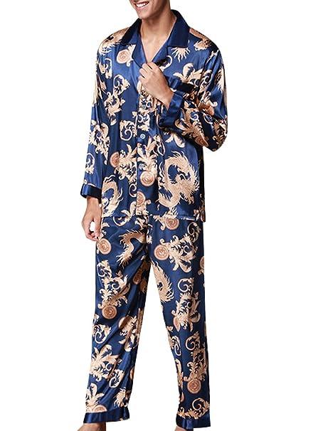 Pijama Set de Manga de satén Satén Largos Impresión Retro para Hombres Azul Real Large