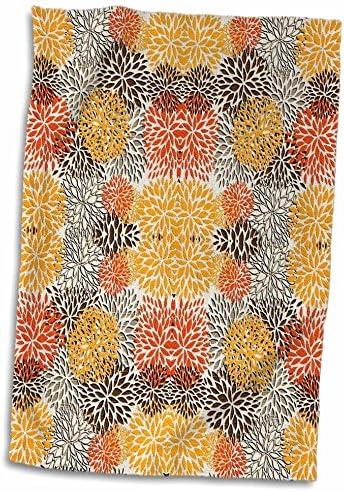 3D Rose Textured Look of Brown Orange n Gray Floral TWL_62554_1 Towel 15 x 22