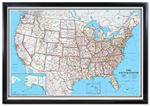 Amazon.com : 24x36 United States, USA US Classic Black Framed Wall ...