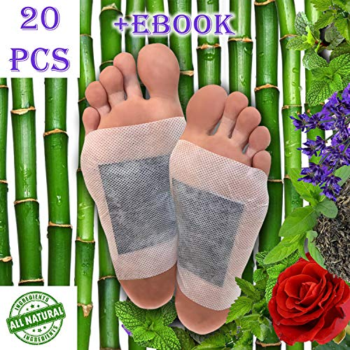Foot Pads 20pc, Bonus EBOOK | Lavender, Rose, Mint, Green Tea | Upgraded 2in1 | All Natural 100% Organic Aroma Foot Pads -