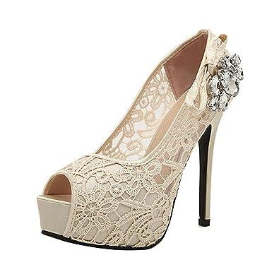 8cde1a8fd3d Donalworld Women Lace Up Crystal Sandals High Heel Wedding Beige Sandals  Asia Size 37