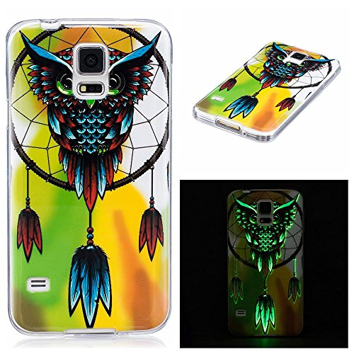 Galaxy S5 Case, Firefish Night-luminous Glow In The Dark Fluorescence Soft Gel Anti Skiding Silicone Cell Phone Back Cover for Samsung Galaxy S5-Deer-B