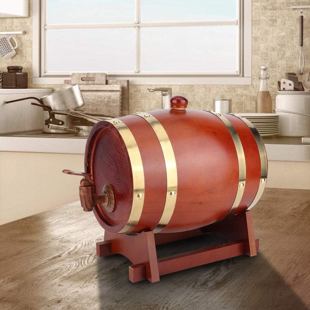 3 litros de madera de pino vintage barril de cerveza dispensador de barril de barril de vino accesorios de elaboración de cerveza equipo de elaboración para el hogar(XXXL-Marron oscuro)