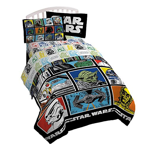 (Star Wars Classic Grid Full Comforter - Super Soft Kids Reversible Bedding features Darth Vader, Stormtrooper, and Chewbacca - Fade Resistant Polyester Microfiber Fill (Official Star Wars)