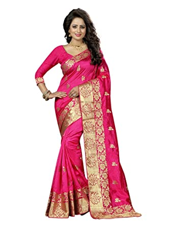 29c8e889657cdc Shoppingover new collection party wear Sarees For Women in Art Silk -Pink  Color: Amazon.co.uk: Clothing