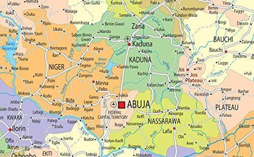 GA A0 Size 84.1 x 118.9 cm Papier laminiert Politische Wandkarte Nigeria