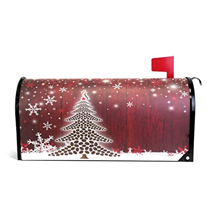Red Christmas Tree.Amazon Com Naanle Christmas Xmas Magnetic Mailbox Cover