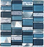 Glossy Blue and Blue Stone Random Brick Rectangle Pattern Glass Mosaic Tiles for Bathroom and Kitchen Walls Kitchen Backsplashes (Free Shipping)