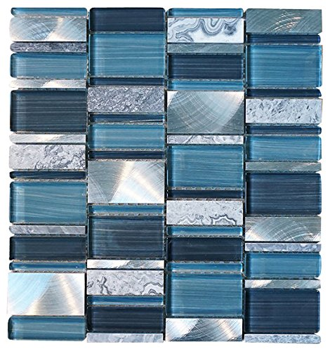 Glossy Blue and Blue Stone Random Brick Rectangle Pattern Glass Mosaic Tiles for Bathroom and Kitchen Walls Kitchen Backsplashes (Free Shipping) by Vogue Tile