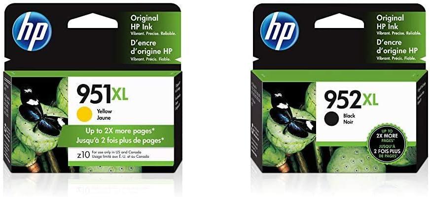 HP 951XL | Ink Cartridge | Yellow | CN048AN & 952XL | Ink Cartridge | Black | F6U19AN