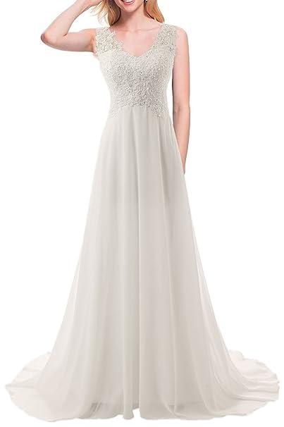 0b378191540de JAEDEN elegante encaje playa vestidos de boda gasa cuello en V una línea de largo  vestido
