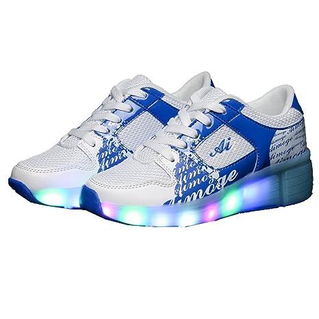 Teckey 2016 Zapatillas con ruedas led 7 colores deportivas para niños (talla :27-
