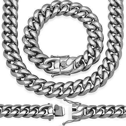 Sterling Manufacturers Premium Stainless Steel Heavy Solid Miami Cuban Link Chain. Secure Box Lock. Available in 8