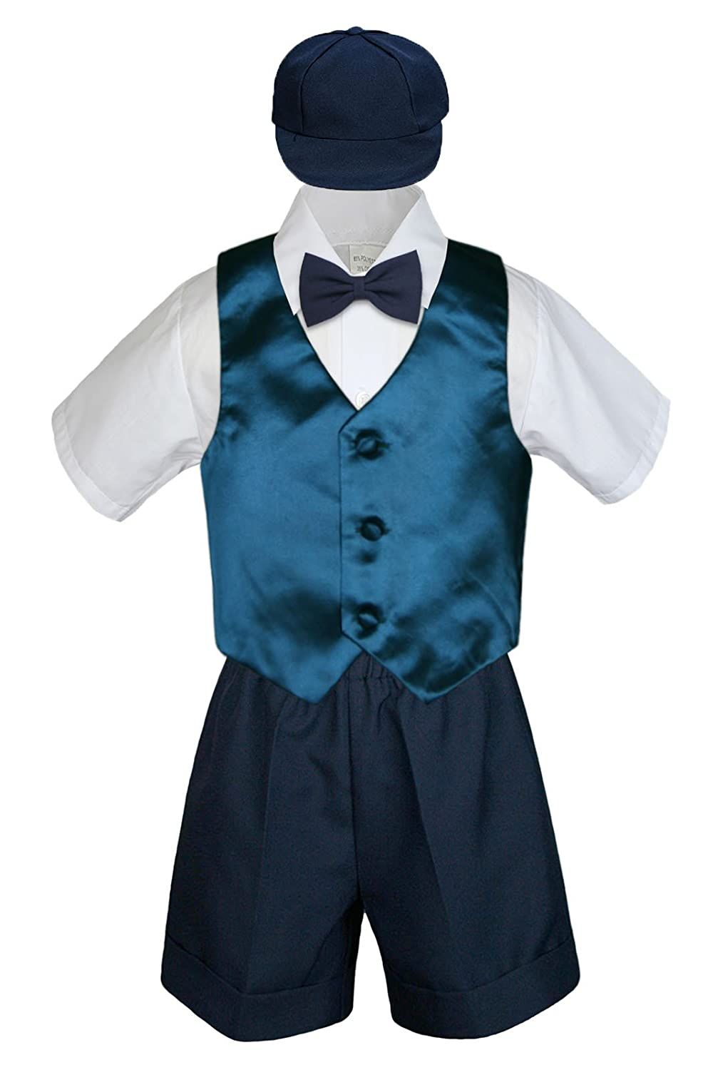 2T Leadertux 5pc Formal Baby Toddler Boys Green Teal Vest Navy Shorts Suit Hat S-4T
