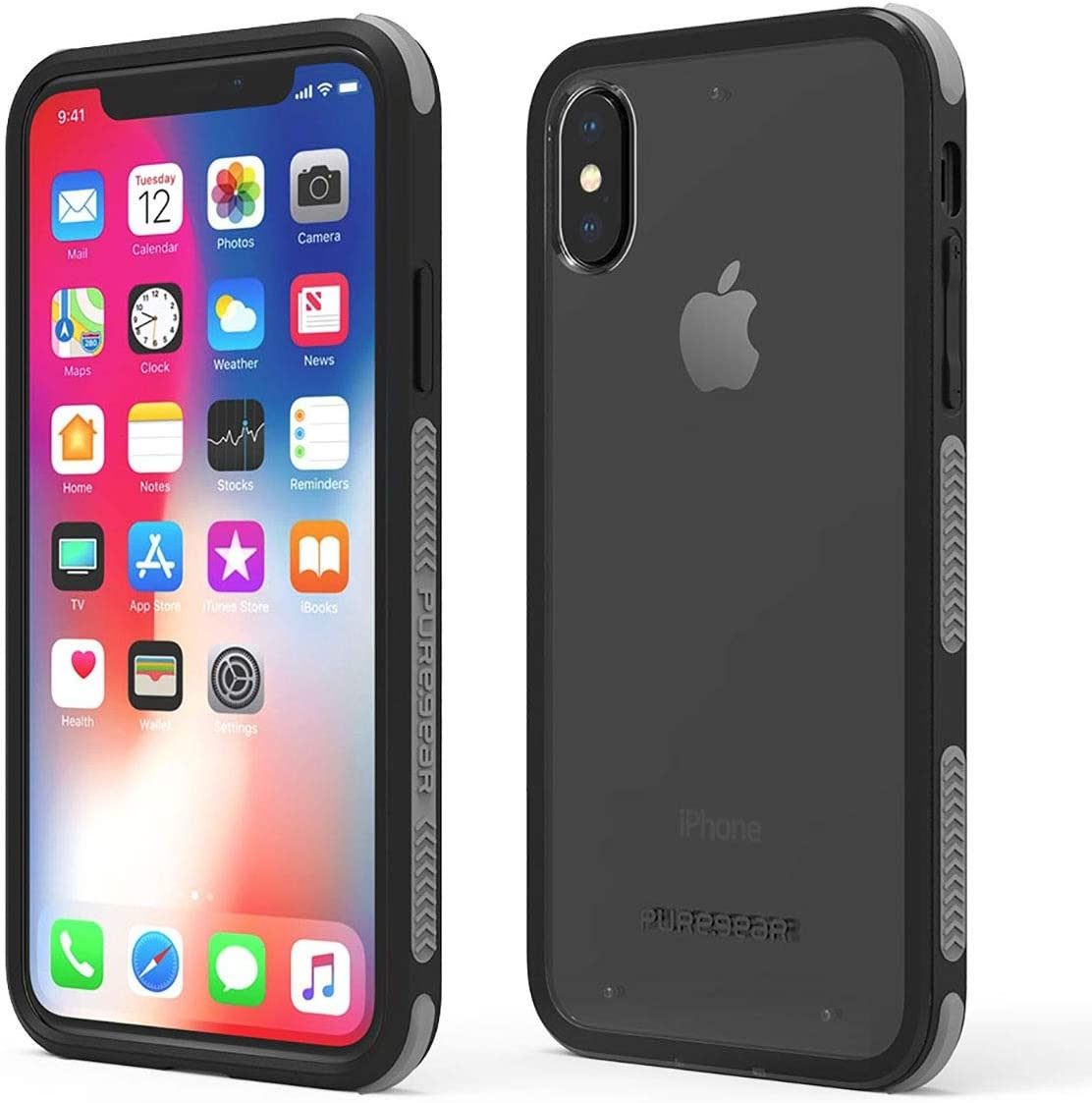 PureGear DualTek Clear Case for iPhone Xs/X, Clear Back with Extreme Shock Protection Bumper,Snap on, Durable, Lightweight, Protective Cellphone Case