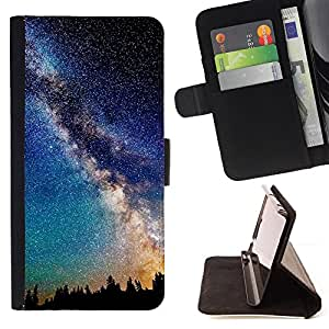 BullDog Case - FOR/Samsung Galaxy S4 Mini i9190 / - / mily way galaxy stars night sky romance /- Monedero de cuero de la PU Llevar cubierta de la caja con el ID Credit Card Slots Flip funda de cuer