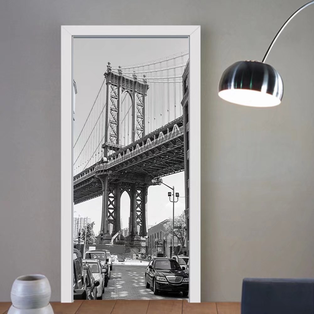 Gzhihine custom made 3d door stickers LaUIFcape Brooklyn New York Usa Landmark Bridge Street with Cars Photo Black White and Charcoal Grey For Room Decor 30x79