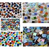 500 Pcs Glass Mosaic Colourful from 5 Various Items A 15 x 15 mm approximately 760g. Christmas Gift