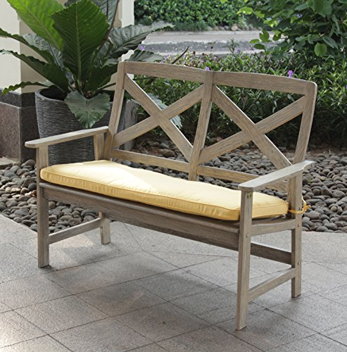 Cambridge-Casual 141133YEL West Lake 4 Bench with Seat Pad, Weathered Grey with Yellow