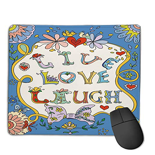 Mouse Pad Custom,Mouse Pad Non-Slip Thick Rubber Large MousepadLive Laugh Love Decor,Colorful Floral Fantasy Design Frame Doodles Swirls Festive Romantic Decorative,Multicolor,Suitable for Any Mouse
