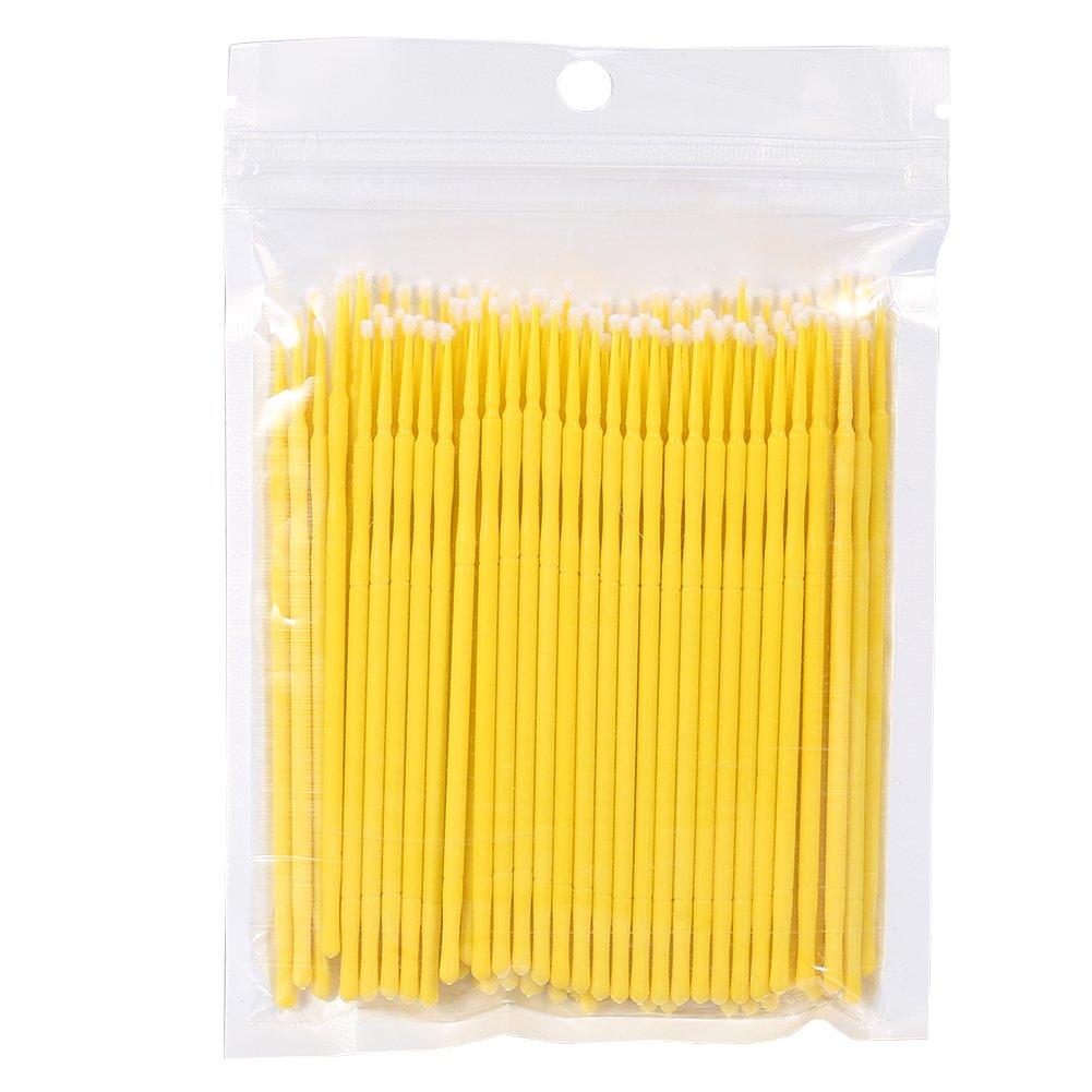 4 colores 100 unids/bolsa mujeres desechables micro pinceles, pestañas extensión rimel cepillo pegamento de pestañas palo de limpieza para la extracción de extensión de pestañas(azul) GLOGLOW