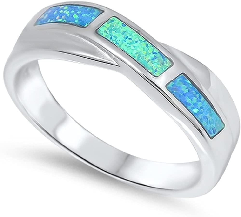 CloseoutWarehouse Overlapping Pattern Blue Simulated Opal 925 Sterling Silver Size 7