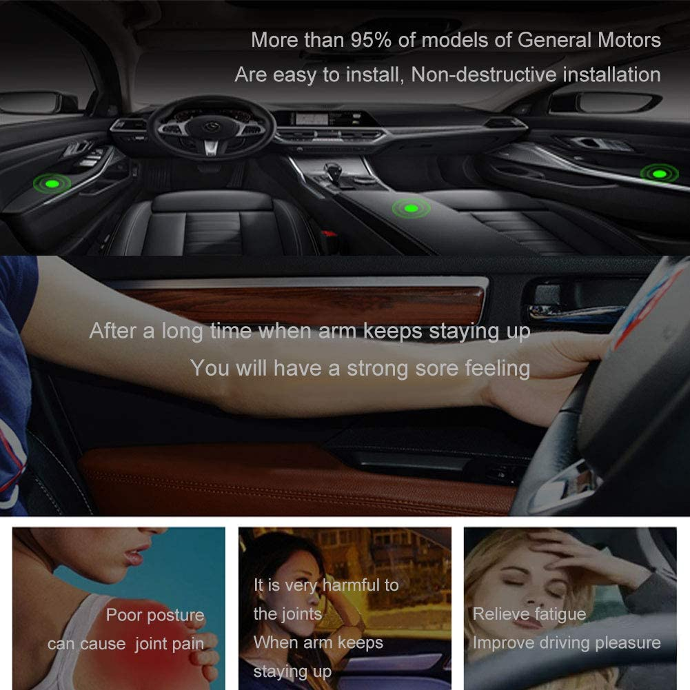 Black Car Door Rest Pillow Automotive Elbow Cushion,Car Hand Elbow Comfort Rest Pads, Adjustable Height LILER Car Elbow Cushion