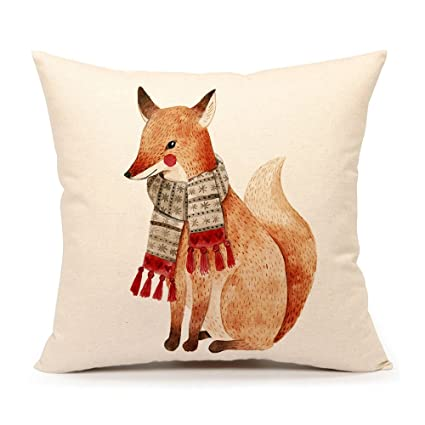 Amazon Winter Holidy Animal Fox Throw Pillow Cover Cushion Case Extraordinary Winter Throw Pillow Covers