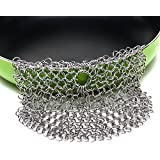 SySrion Round Cast Iron Cleaner Xl 7x7 Inch Premium Stainless Steel Chainmail Scrubber