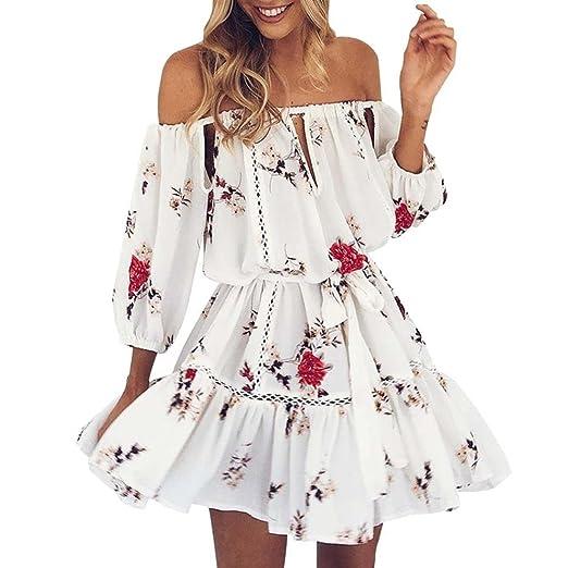 e150b2d79ccb Goddessvan Mini Dress, Womens Summer Sexy Off Shoulder Floral Print  Sundress Party Beach Short Dress at Amazon Women's Clothing store: