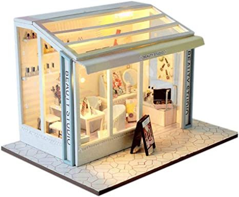DIY Dollhouse Miniature Kit European Shop Series Dolls House Led Lights Furniture Wooden Puzzle Model Creative Room DIY Hand Craft Children Girl Birthday Hair Salon Shop