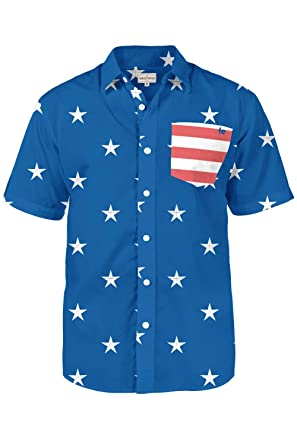 ac71c5ce97f5 Tipsy Elves Men's American Flag Shirt - Blue USA Patriotic Button Down  Hawaiian Shirt for Guys at Amazon Men's Clothing store:
